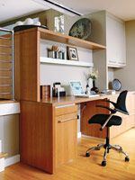 Bamboo flooring and desk