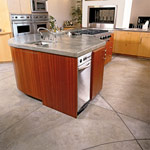 Concrete floors and counters