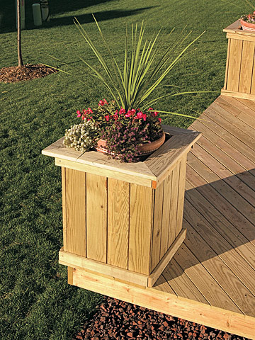 Wooden planter box plans free for Deck garden box designs