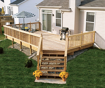 Sloped Site Deck with Railing and Stairs Picture Gallery