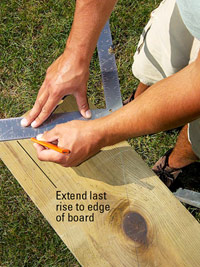 Extend last rise line to edge of board