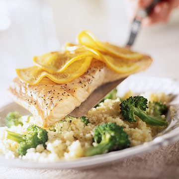 Lemony Whole Wheat Pearl Couscous With Broccoli And Salmon ...