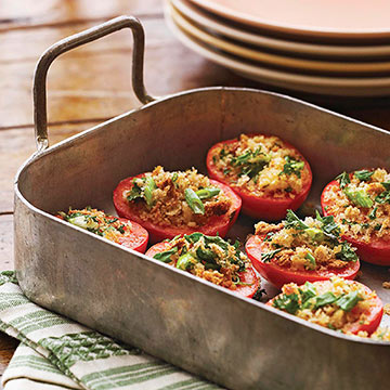 Tomatoes with Crispy Bread Topping