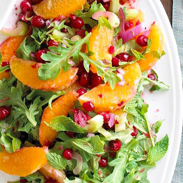 Citrus Salad With Poached Cranberries Recipe — Dishmaps