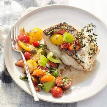 Striped Bass with Tomato Relish | Diabetic Living Online