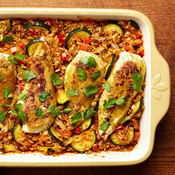 Tandoori chicken and rice diabetic living online tandoori spiced chicken and rice bake forumfinder Images