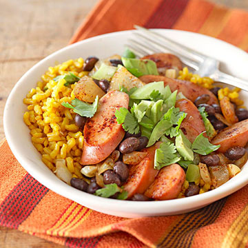 how to make yellow rice and beans