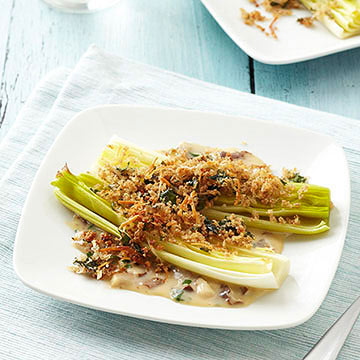 Parmesan-Panko Leeks with Herbed Mushroom Cream Sauce | Diabetic ...