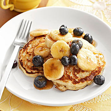 Blueberry banana pancakes diabetic living online oatmeal pancakes with maple bananas ccuart Image collections
