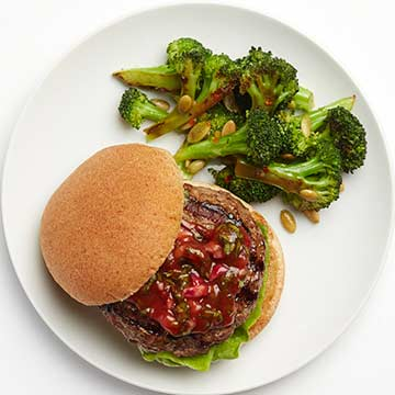 Portobello-Stuffed Burgers with Basil Ketchup | Diabetic Living Online
