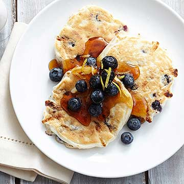 Blueberry Lemon Cottage Cheese Silver Dollar Pancakes