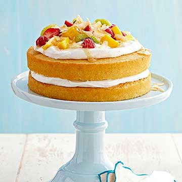 Coconut Cream and FruitTopped Vanilla Cake Diabetic Living Online