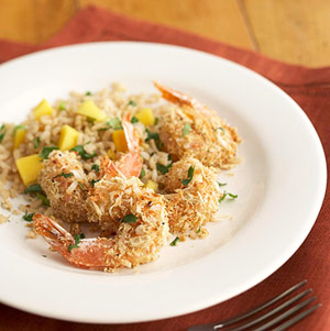 Coconut Shrimp with Mango Rice Pilaf