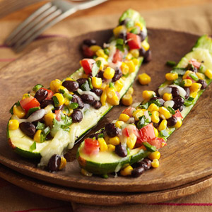 Stuffed Zucchini with Black Beans, Corn, and Poblano Pepper | Diabetic ...