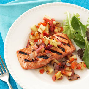 Grilled Salmon with Apple-Onion Relish | Diabetic Living Online