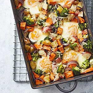 Baked Eggs with Roasted Vegetables