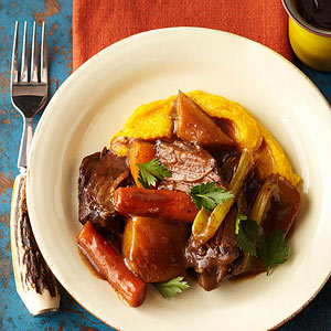 Braised Beef and Root Vegetables with Butternut Squash Polenta