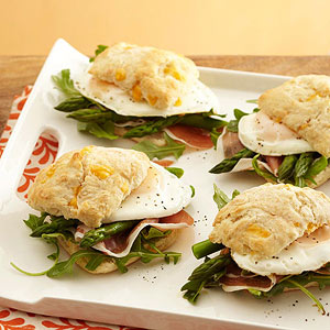 Asparagus, Prosciutto, and Arugula Breakfast Sandwiches