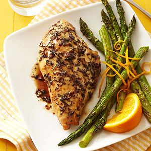 Balsamic Chicken with Roasted Orange Asparagus | Diabetic Living ...