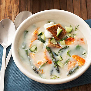 Dilled Salmon and Asparagus Soup | Diabetic Living Online