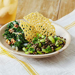Lentil and Celery Salad with Sauteed Kale and Parmesan Crisps