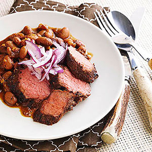 Coffee-Rubbed Beef with Red-Eye Beans
