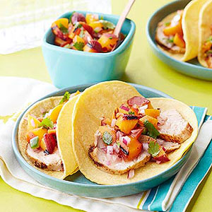 Pork Tacos with Summer Peach Salsa | Diabetic Living Online