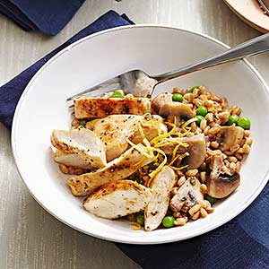 Chicken, Spring Pea, and Farro Risotto with Lemon