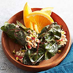 Turkey-Swiss Chard Wraps with Apples