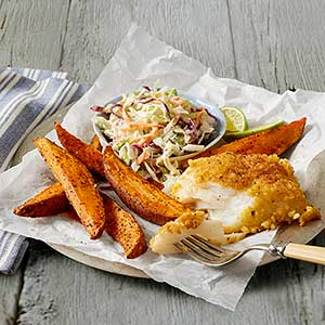 Corn-Crusted Fish and Sweet Potato Wedges