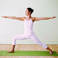 Warrior II yoga standing pose, yoga