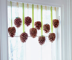 Pine cone window decorations