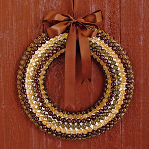 holiday wreath with beads