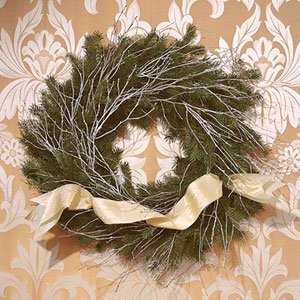 flocked branch wreath