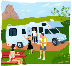 Family with rv illo