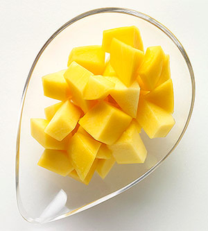 Slices of mango in a clear jar