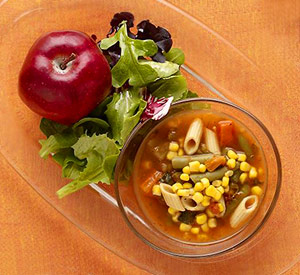 Vegetable soup, salad, lettuce