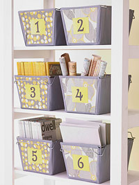 Use iron-ons to organize your storage bins.