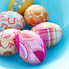 Fabric-covered Easter eggs