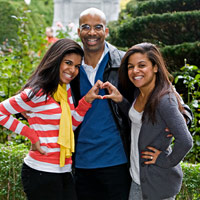 Dr. Clyde Yancy with daughters Nina and Kristin