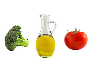 Tomato, olive oil and broccoli