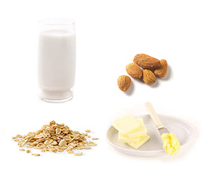 Oatmeal, soy milk, margarine, almonds