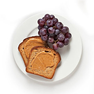 peanut butter toast and grapes