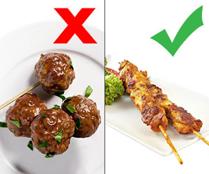Swedish meatballs and Chicken satays