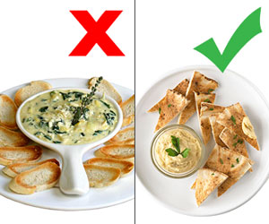 Spinach-artichoke dip & Hummus and pita
