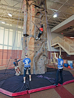 rock-climbing wall at the new YMCA in Edwardsville, Illinois