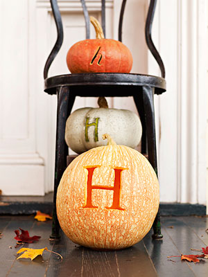 Pumpkins carved with letters
