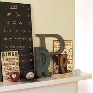 Typographic mantel display
