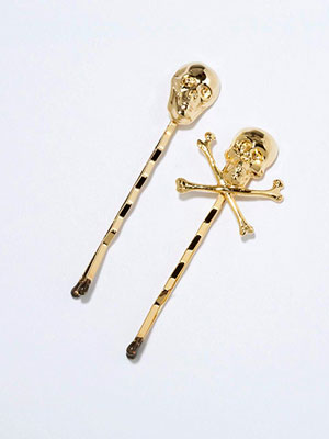 rock and roll back-to-school fashion - skull bobby pins