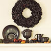 Black wreath and dishes